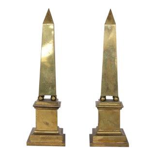 Mid-Century Italian Brass Obelisks - A Pair
