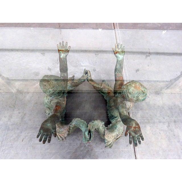 Bronze Putti DI Mare Glass Top Coffee Table For Sale - Image 4 of 8
