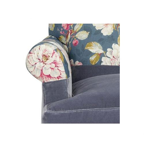 Kim Salmela Blue Floral Chair For Sale - Image 5 of 6