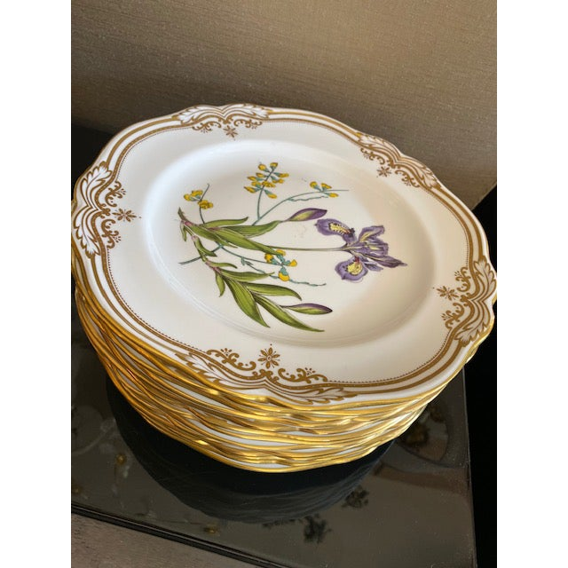Late 18th Century Spode English Dinner Stafford Flowers Bone Plates - 14 Pieces For Sale - Image 5 of 9