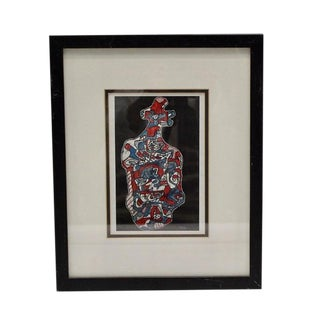 Framed Blue and Red Heart Print by Jean Dubuffet