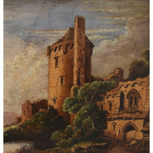 Oil Paint Circa 1830s Antique English Castle & Cattle at River Painting For Sale - Image 7 of 11