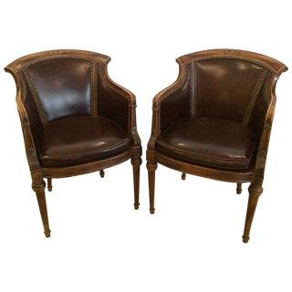 Regency Style Walnut & Faux Tortoise Vinyl Club Lounge Chairs - A Pair