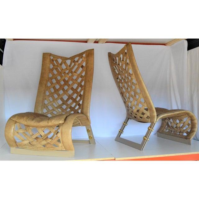 Marzio Cecchi Rare Large Leather Lounge Club Chairs by Marzio Cecchi- a Pair - Italian Italy Mid Century Modern Palm Beach Boho Chic Designer For Sale - Image 4 of 12