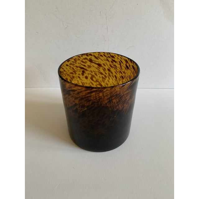 A Tortoise Shell style glass vase or ice bucket by Bloomingville. Signed. A stunning and organic design, this vase or ice...