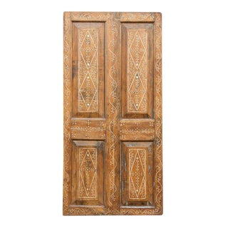 Vintage Bone Inlaid Teak Door For Sale