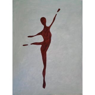 """""""Ballet Pose IV"""" Contemporary Minimalist Figurative Mixed-Media Painting For Sale"""