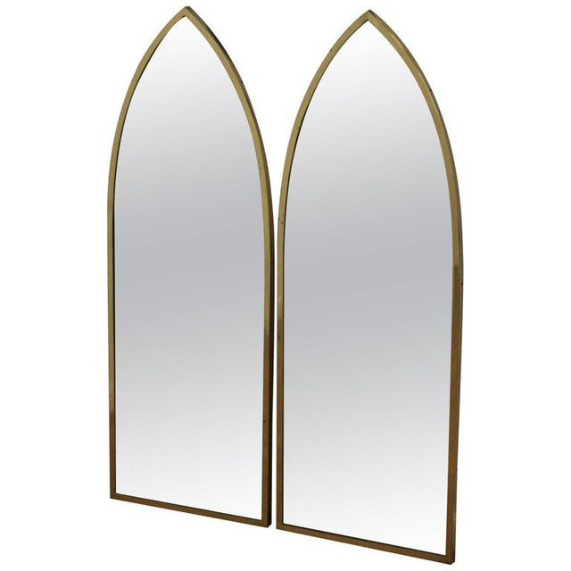 Mid-Century Modern Pair of Mid-Century Modern Brass Arched Mirrors For Sale - Image 3 of 3