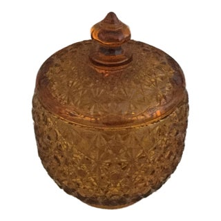 Amber Vintage Jar With Lid For Sale