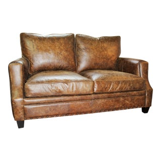 Bernhardt All-Leather Loveseat For Sale