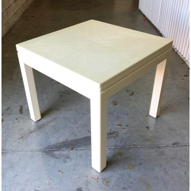 Minimalist White Reptile Leather Wrapped Square Flip Top Dining Table For Sale - Image 13 of 13