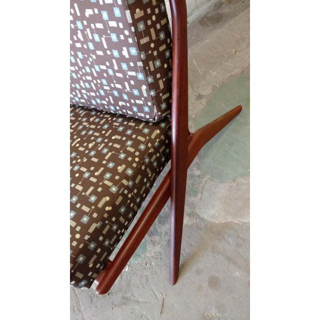 1970s Teak Scissor Chair With Space Age Fabric by Folke Ohlsson for DUX For Sale - Image 5 of 11