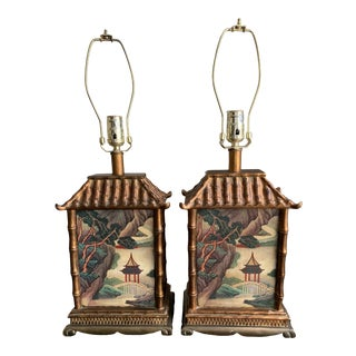 1990's Antique Rectangle Asian Hand-Painted Porcelain Lamps - a Pair For Sale