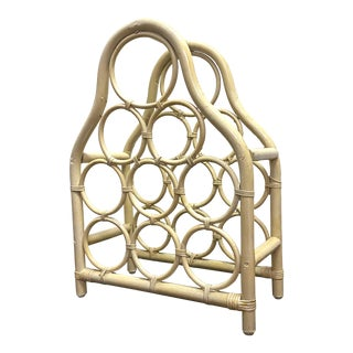 1970's Bleached Bamboo 9 Bottle Wine Rack For Sale