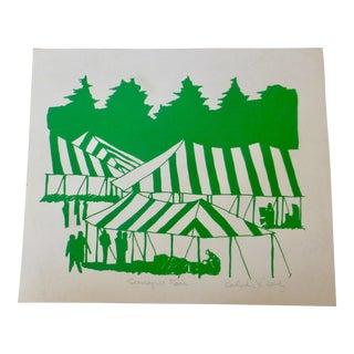 "Signed Calvin Libby ""Sunapee Fair"" Modernist Print"