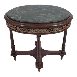 1990s Vintage Green Marble Oval Accent Table For Sale