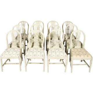 Late 19th Century Grey Painted Gustavian Dining Chairs- Set of 12 Preview