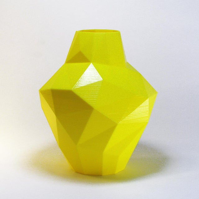 Contemporary Redux Polygon Accent Vase, Electric Yellow For Sale - Image 3 of 4