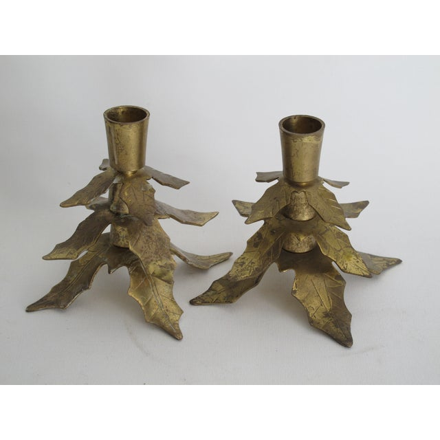 Brass Holly Leaf Candleholders - A Pair - Image 5 of 6