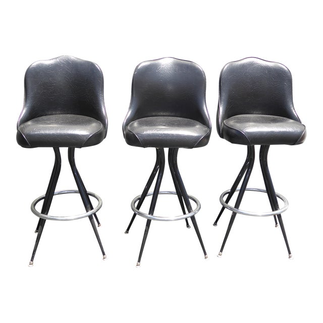 Vintage Mid-Century Modern Black Vinyl & Chrome Swivel Bar Stools - Set of 3 - Image 1 of 10