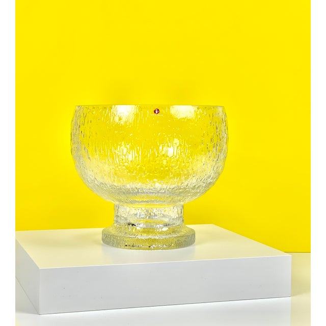 Large vintage 'Kekkerit' footed glass bowl designed by, Timo Sarpaneva, for Iittala, Finland. Retains original Iittala...