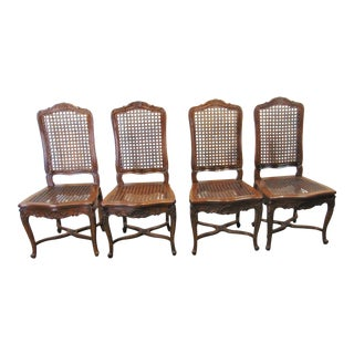 Louis XV Carved Walnut Caned Dining Chairs - Set of 4 For Sale