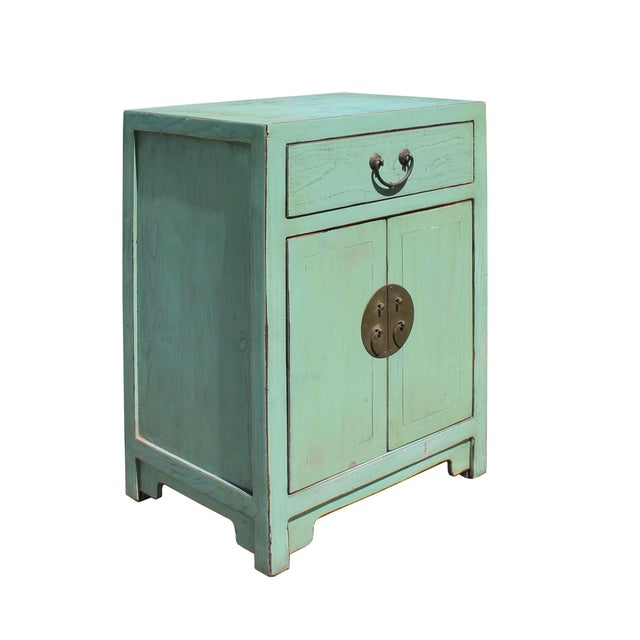 Asian Oriental Distressed Light Teal Green Lacquer Side End Table Nightstand For Sale - Image 3 of 6