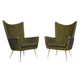 Pair of Italian Lounge Chairs in Original Horsehair Fabric For Sale