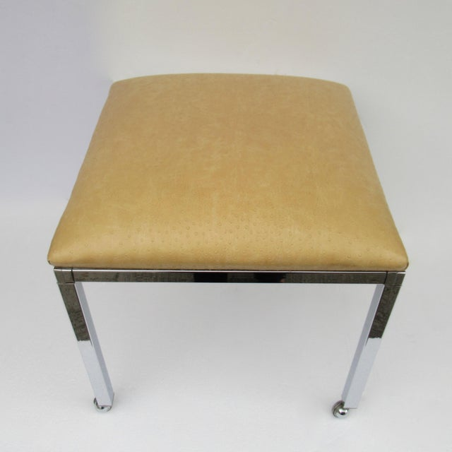Silver Mid-Century Milo Baughman Chrome Bench With Chrome Castors For Sale - Image 8 of 13