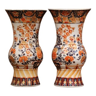 Pair of Early 20th Century Japanese Painted and Gilt Porcelain Imari Vases For Sale