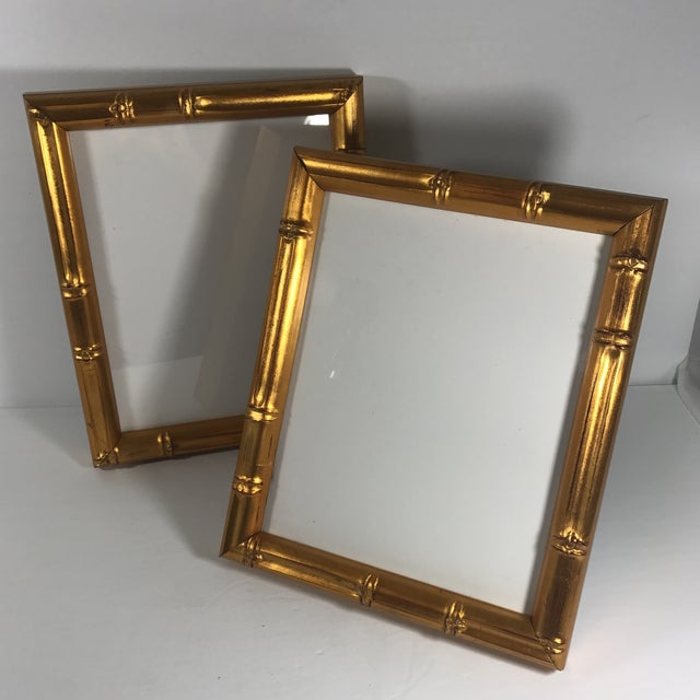 Pair of Gold Gilt Bamboo Frames For Sale - Image 9 of 11