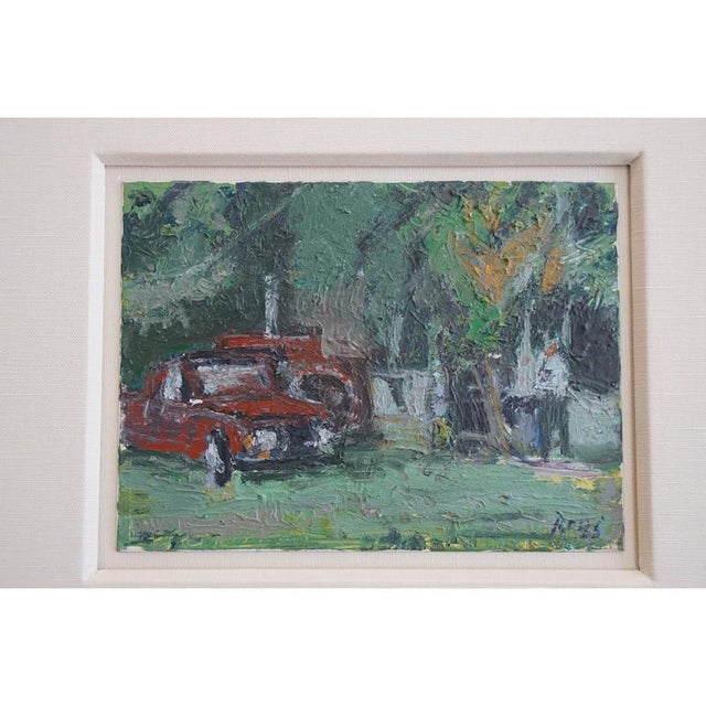 "This listing is for the 1960s painting ""Yard"" By Jeffrey Boys."