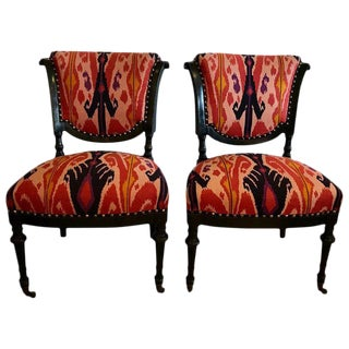 French Side Chairs in Eye Popping Ikat - A Pair