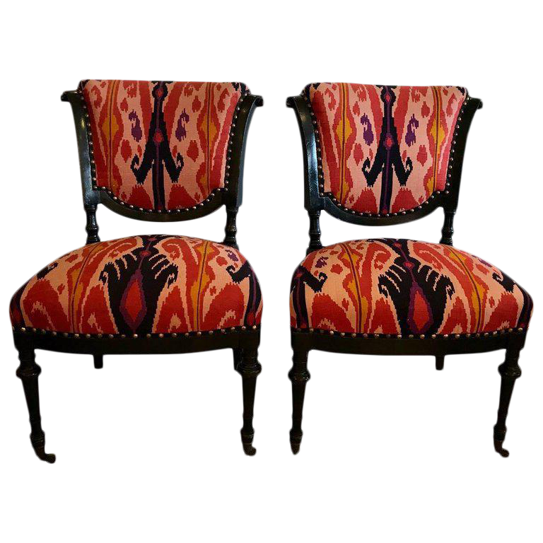 French Side Chairs In Eye Popping Ikat   A Pair