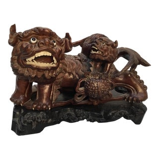 Antique Chinese Carved Hardwood Foo Dog on Stand For Sale