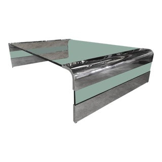 Massive Chrome and Glass Cocktail Table by Pace
