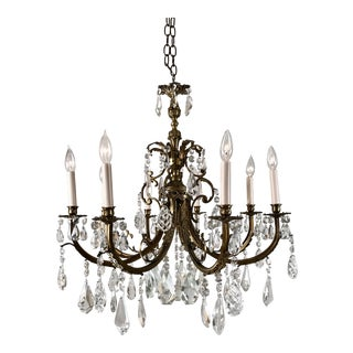 1920 Vintage French Bronze and Crystal Eight Light Chandelier For Sale
