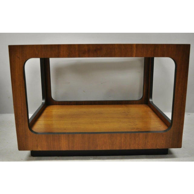 Lane Furniture Mid Century Modern Lane Walnut Smoked Glass Modernist End Tables - a Pair For Sale - Image 4 of 12