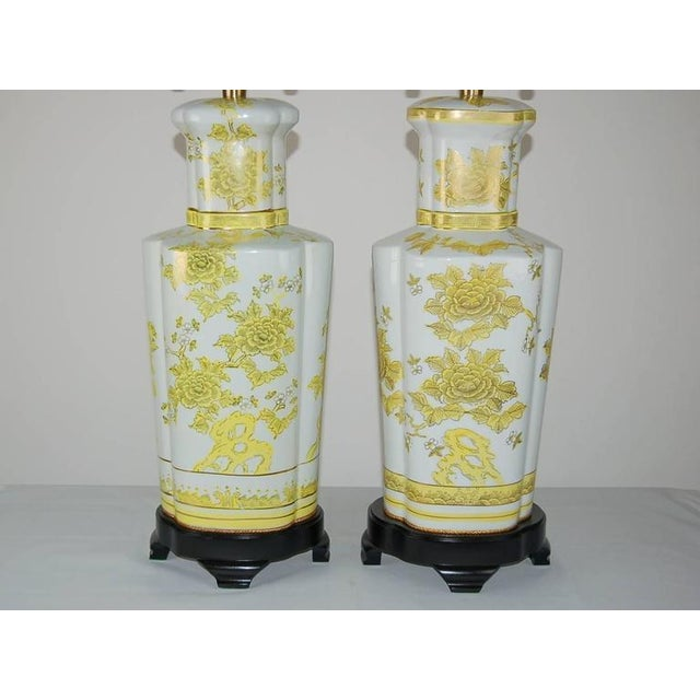 Asian Marbro Italian Porcelain Table Lamps Yellow For Sale - Image 3 of 10