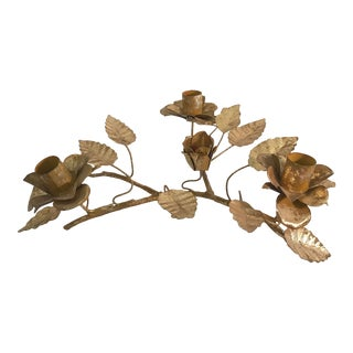 20th Century Italian Gold Metal Figural Flower Candle Holder For Sale