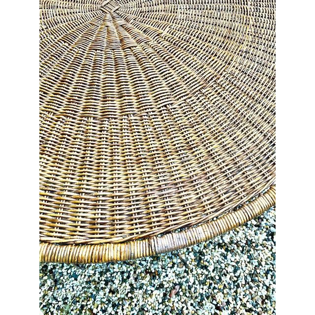 1950s Arthur Umanoff Round Table Rattan Top Metal Base For Sale - Image 5 of 6