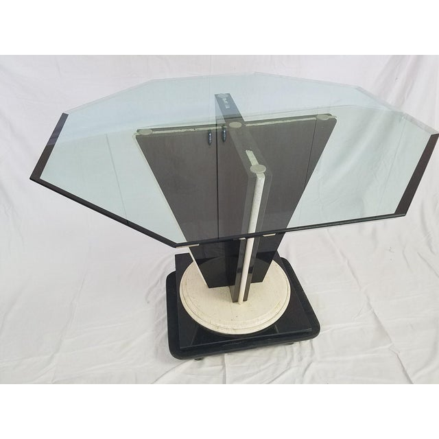 Glass Top Table with Granite & Marble Base - Image 2 of 8