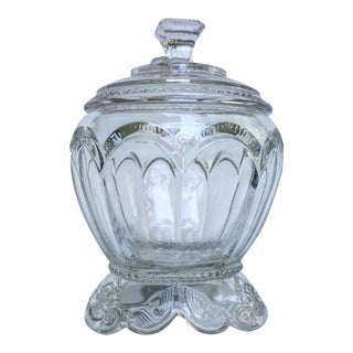 Vintage Clear Pressed Glass Candy Dish With Lid For Sale