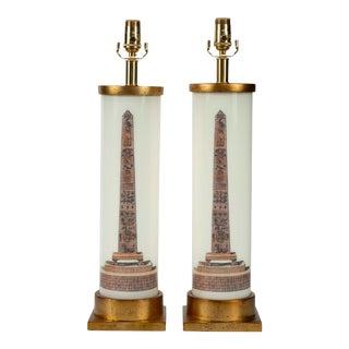 """Column"" Obeslisks Lamps - a Pair For Sale"