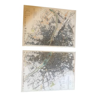 Prints of Paris Maps on Stretched Canvas - A Pair For Sale