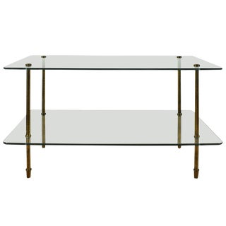 1960´s Side Table, thick glass, solid brass legs - Italy For Sale