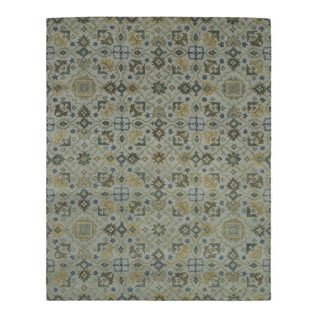 Traditional Hand Tufted Geometric Wool & Cotton Rug - 8' X 10' For Sale