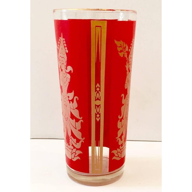 "Culver Mid-Century Red & 22k Gold ""Thai Goddess"" Drinks - Set of 9 - Image 6 of 8"