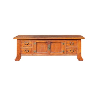 Chinese Oriental Brown Drawers Low Altar Table Chest Cabinet For Sale
