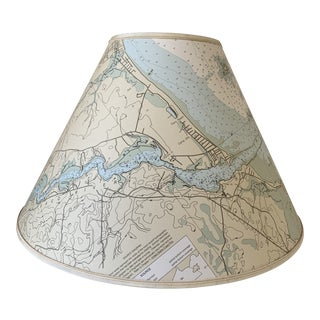 Maine Custom Hand-Crafted Nautical Chart Lamp Shade For Sale